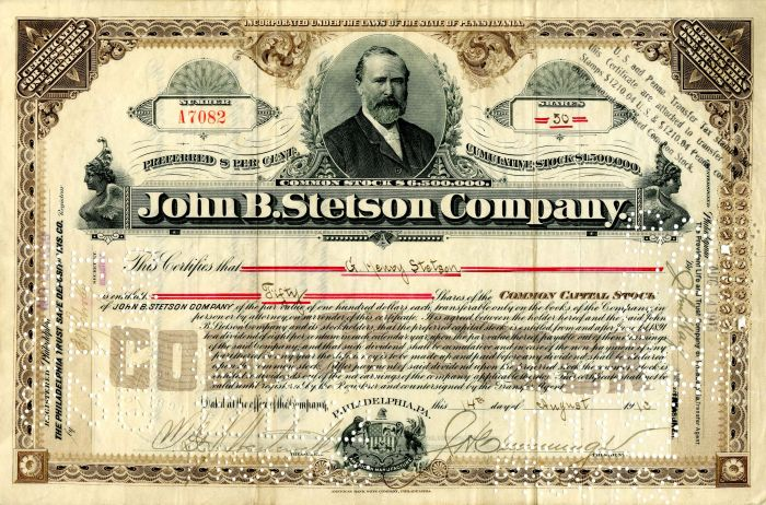 John B. Stetson Company issued to G. Henry Stetson - Stock Certificate - SOLD