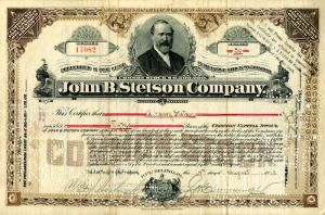 John B. Stetson Company issued to G. Henry Stetson - Stock Certificate