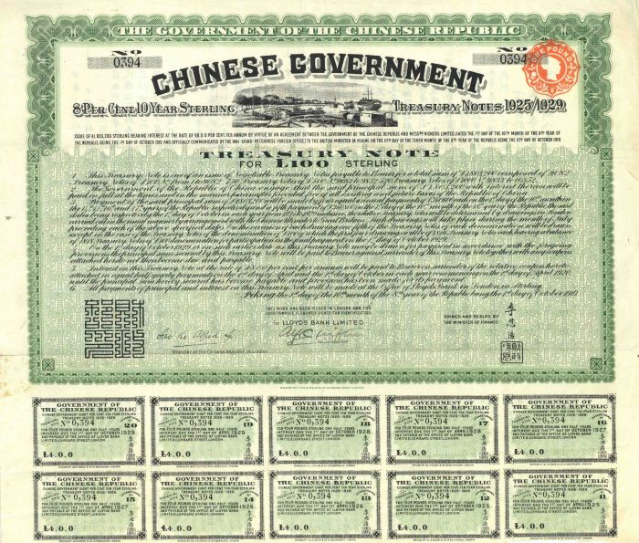 """""""Vickers Loan"""" Chinese Uncancelled 1919 100 British Pound Sterling Bond with Pass-co Authentication"""