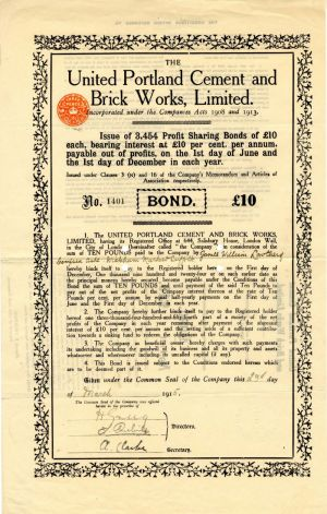 United Portland Cement and Brick Works, Limited - £10