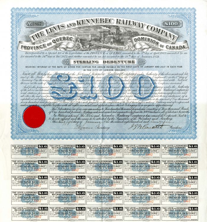 Levis and Kennebec Railway Company - £100