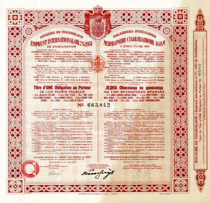 Yugoslavian Stock 1931
