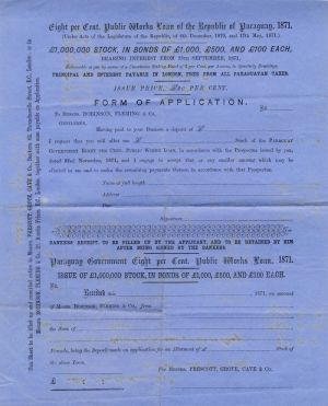 Loan of the Republic of Paraguay - Unissued Form of Application - SOLD