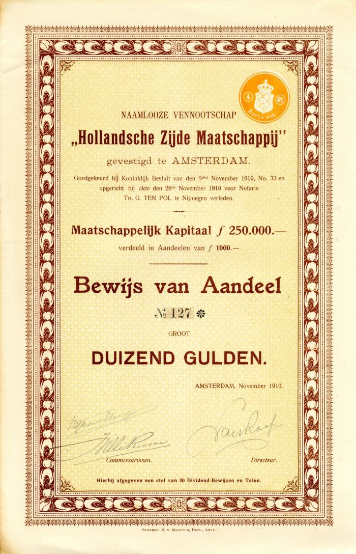 """""""Hollandsche Zijde Maatschappij"""""""