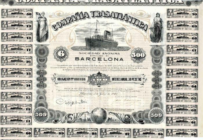 Compania Trasatlantica - 500 Pesetas Bond (Uncanceled)