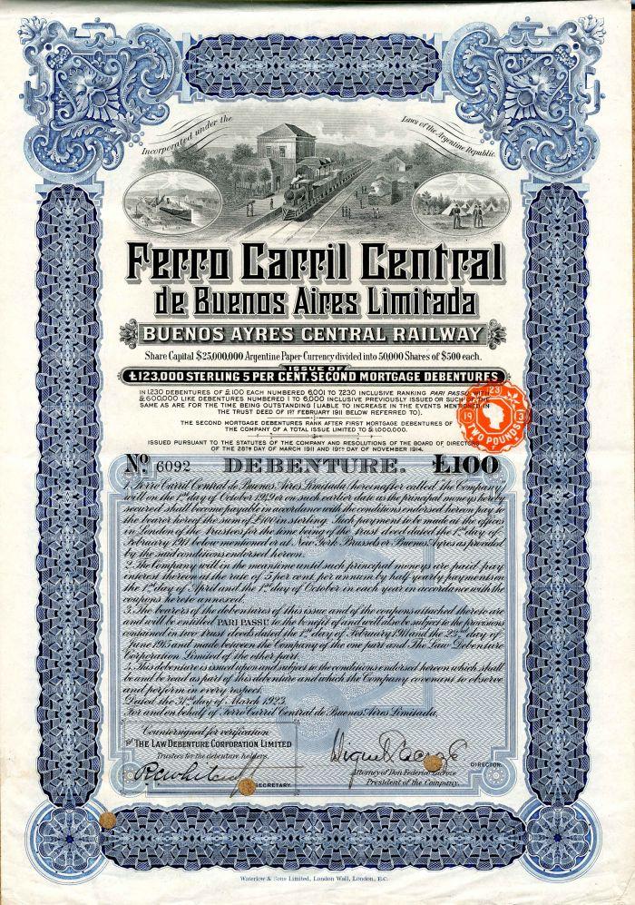 Ferro Carril Central de Buenos Aires Limitada - £100 Bond