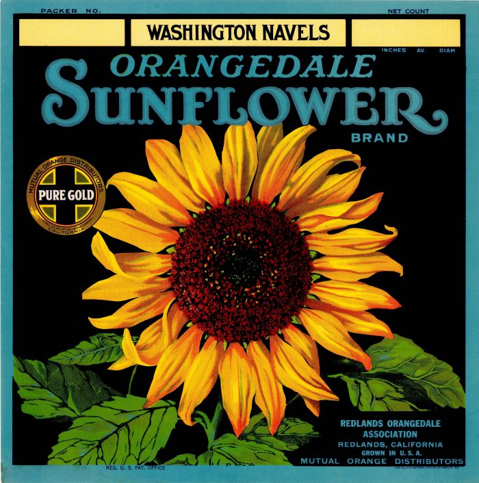 Orangedale Sunflower- Fruit Crate Label