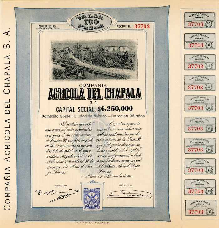 Compania Agricola Del Chapala, S.A. - Stock Certificate