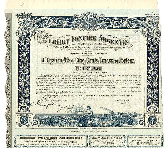 Credit Foncier Argentin - Stock Certificate