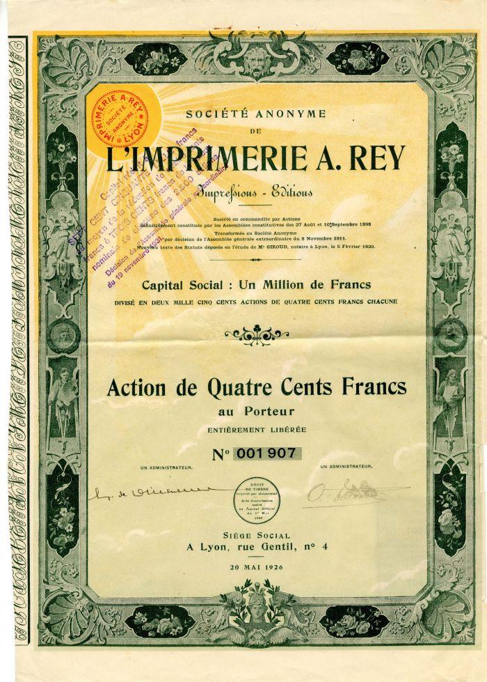 Imprimerie A. Rey - Stock Certificate