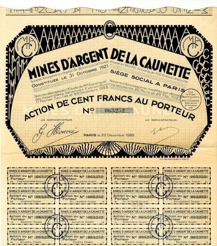 Mines D'Argent De La Caunette - Stock Certificate