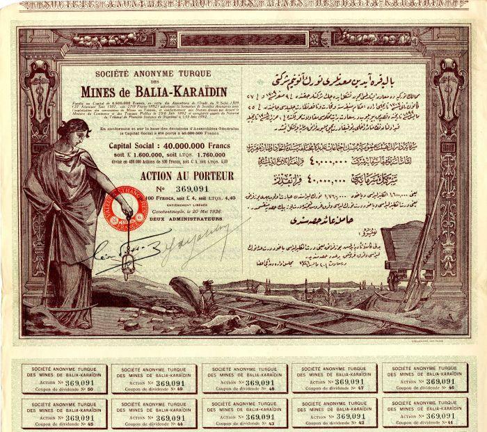 Societe Anonyme Turque Des Mines de Balia-Karaidin - Stock Certificate