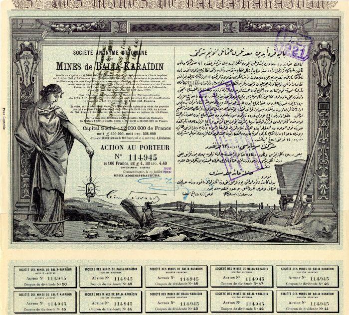 Societe Anonyme Ottomane Des Mines de Balia-Karaidin - Stock Certificate