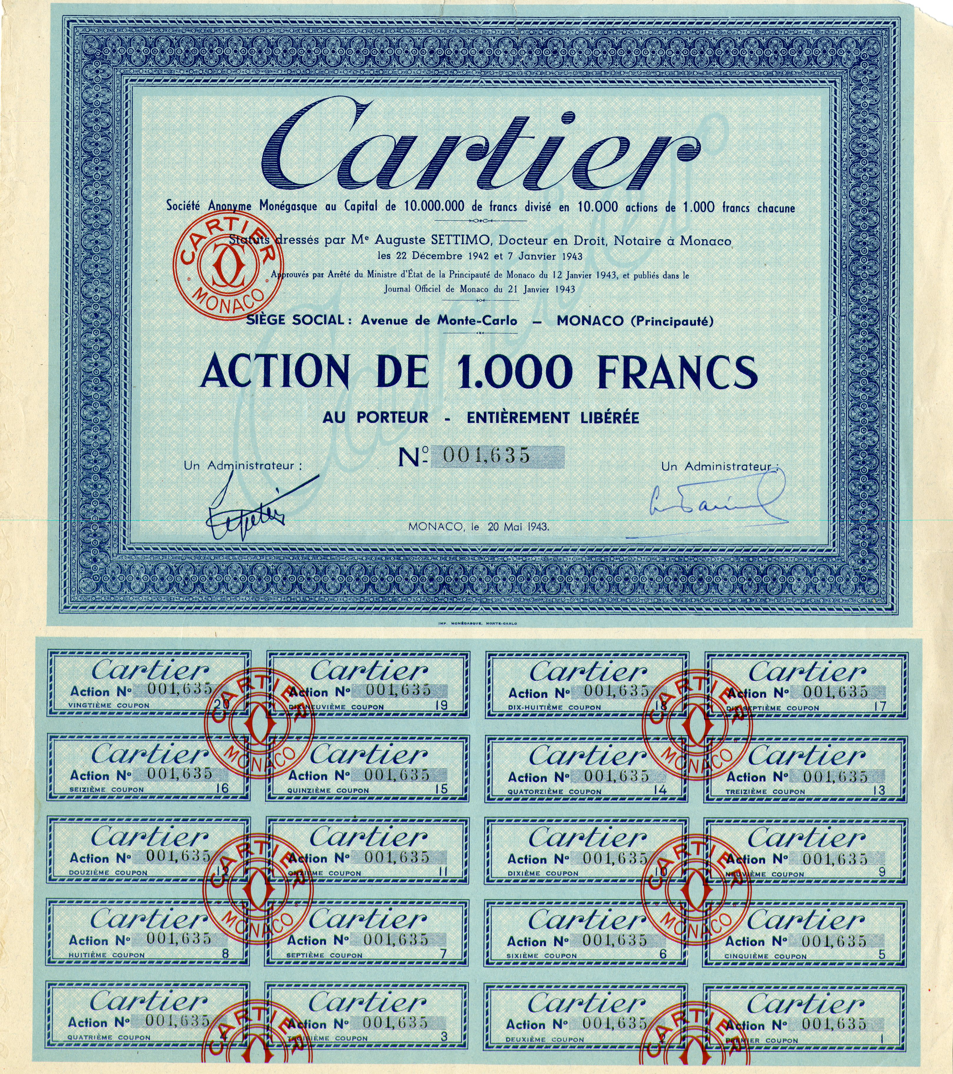 Cartier - Stock Certificate with Repairs