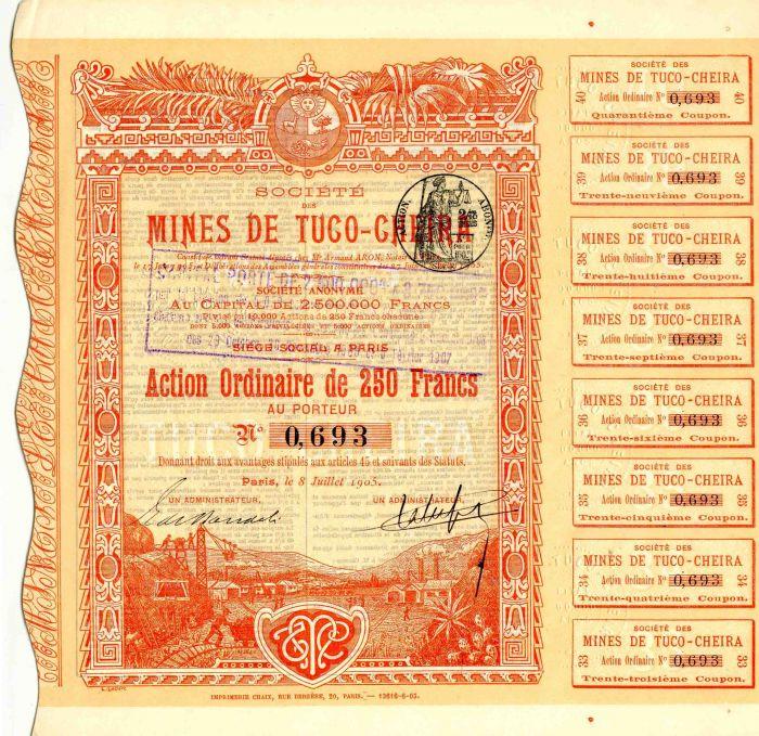 Societe Des Mines de Tuco-Cheira - Stock Certificate