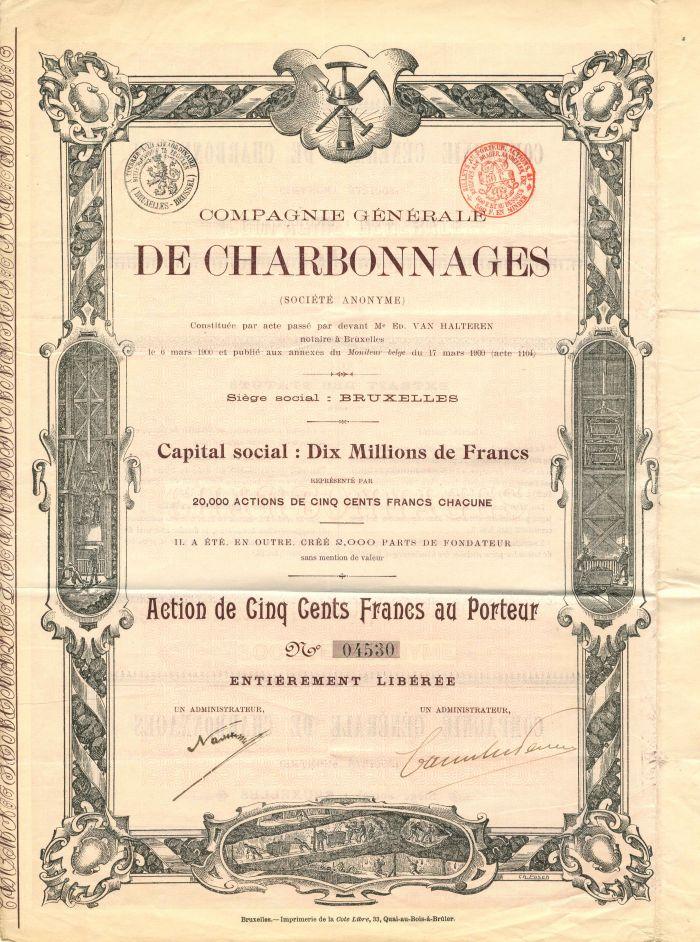 Compagnie Generale De Charbonnages - Stock Certificate