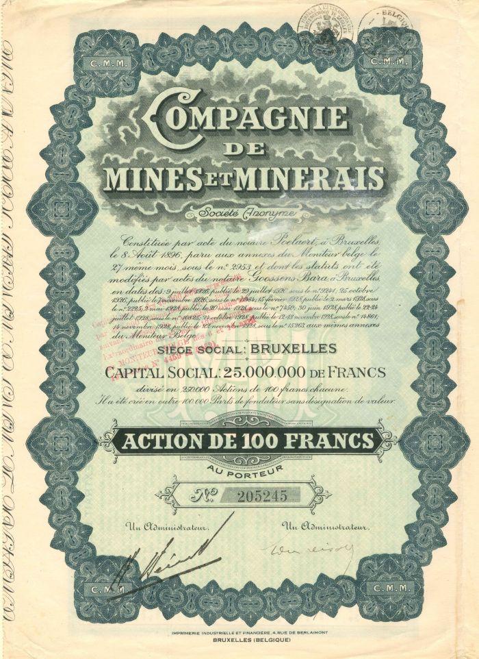 Compagnie De Mines Et Minerais - Stock Certificate