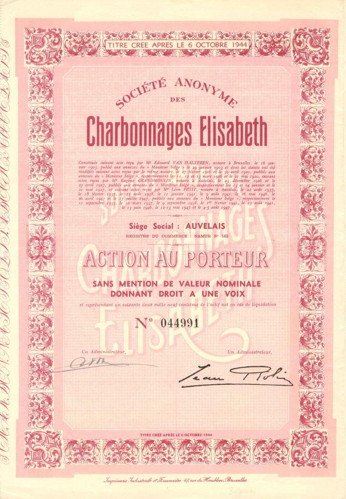 Societe Anonyme Des Charbonnages Elisabeth - Stock Certificate