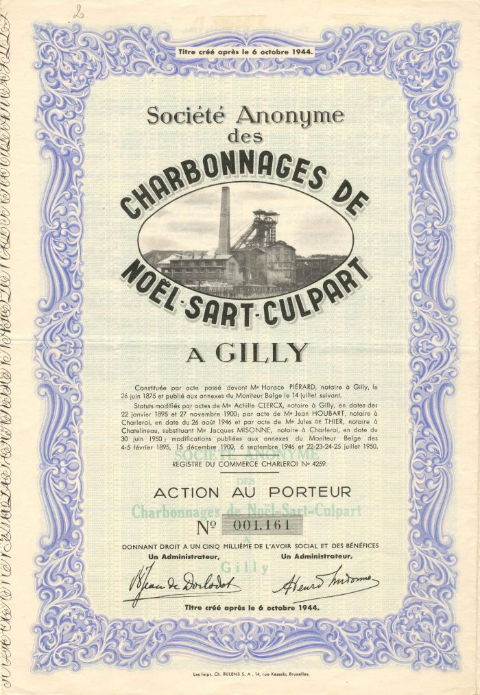 Societe Anonyme des Charbonnages De Noel Sart Culpart - Stock Certificate