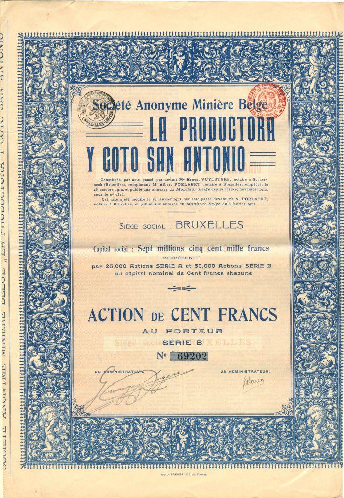 Societe Anonyme Miniere Belge La Productora Y Coto San Antonio - Stock Certificate