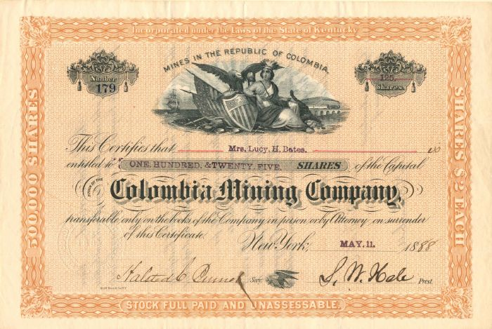 Colombia Mining Company - Stock Certificate