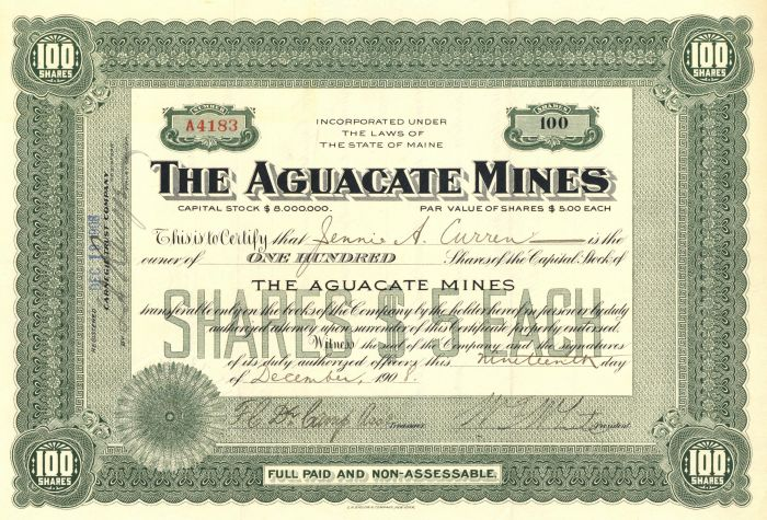 Aguacate Mines - Stock Certificate