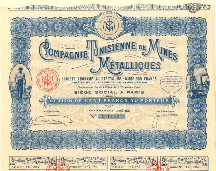 Compagnie Tunisienne De Mines Metalliques - Stock Certificate
