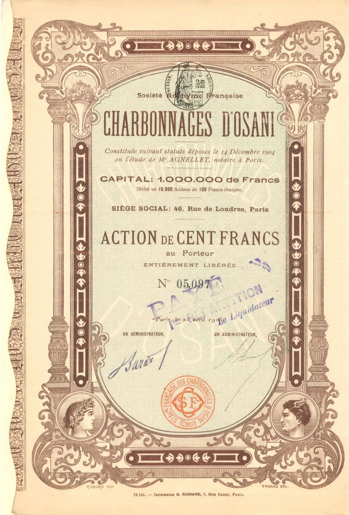 Societe Anonyme Francaise Charbonnages D'Osani - Stock Certificate