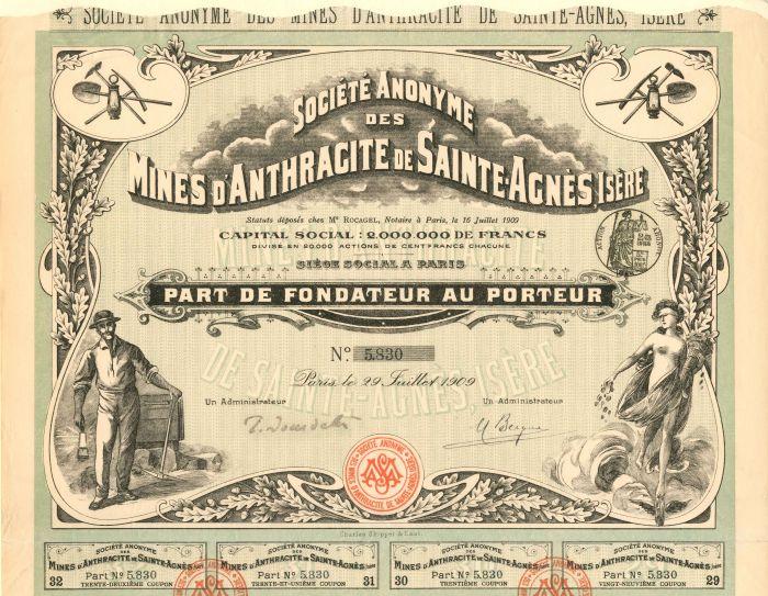 Societe Anonyme Des Mines D'Anthracite De Sainte-Agnes, Isere - Stock Certificate