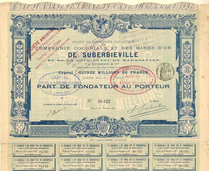 Compagnie Coloniale Et Des Mines D'or De Suberbieville - Stock Certificate