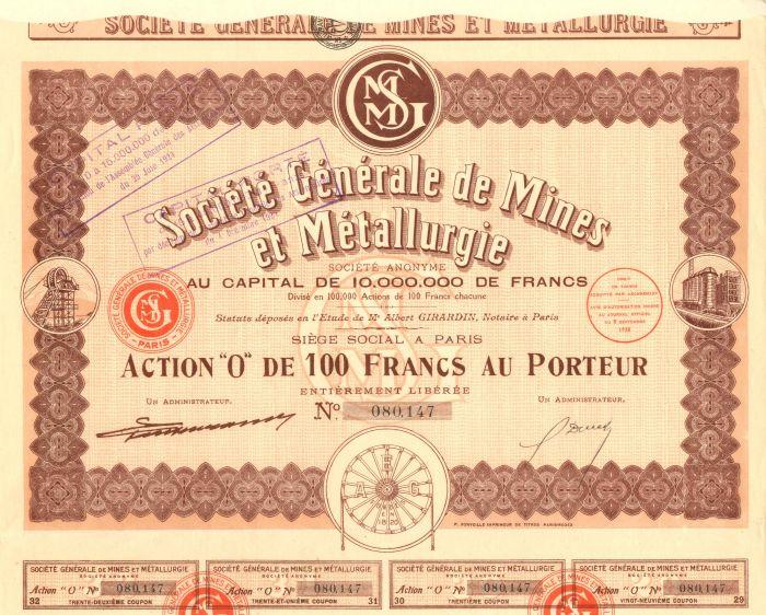 Societe Generale de Mines et Metallurgie - Stock Certificate