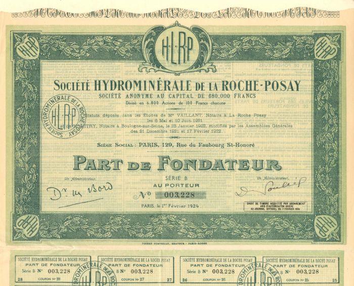 Societe Hydrominerale De La Roche-Posay - Stock Certificate