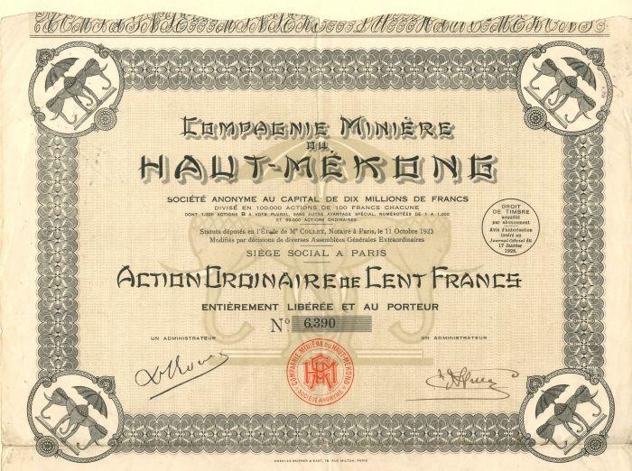 Compagnie Miniere Du Haut-Mekone - Stock Certificate