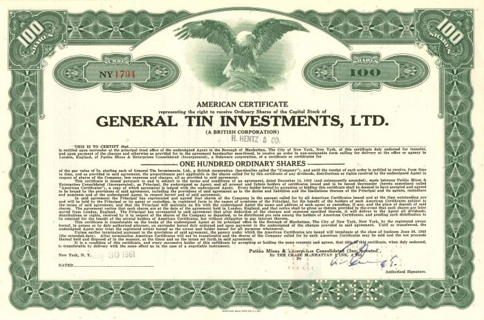 General Tin Investments, Ltd. - Stock Certificate