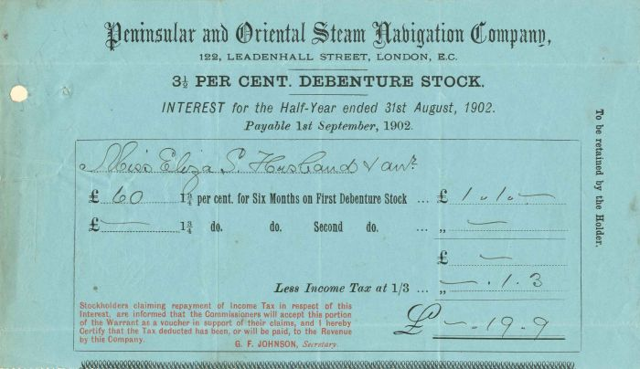 Peninsular and Oriental Steam Navigation Company - Stock Certificate