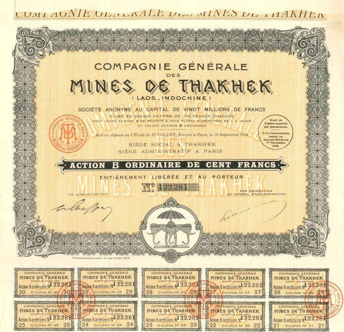 Compagnie Generale Des Mines De Thakhek - Stock Certificate