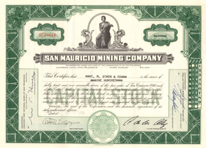 San Mauricio Mining Company - Stock Certificate