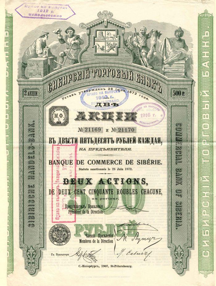 Banque De Commerce De Siberie - Stock Certificate
