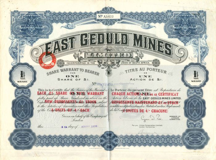 East Geduld Mines Limited - Stock Certificate