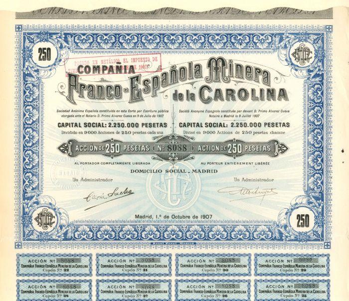 Compania Franco-Espanola Minera de la Carolina - Stock Certificate