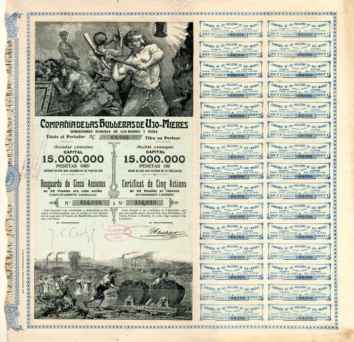 Compania De Las Hulleras De Ujo-Mieres - Stock Certificate