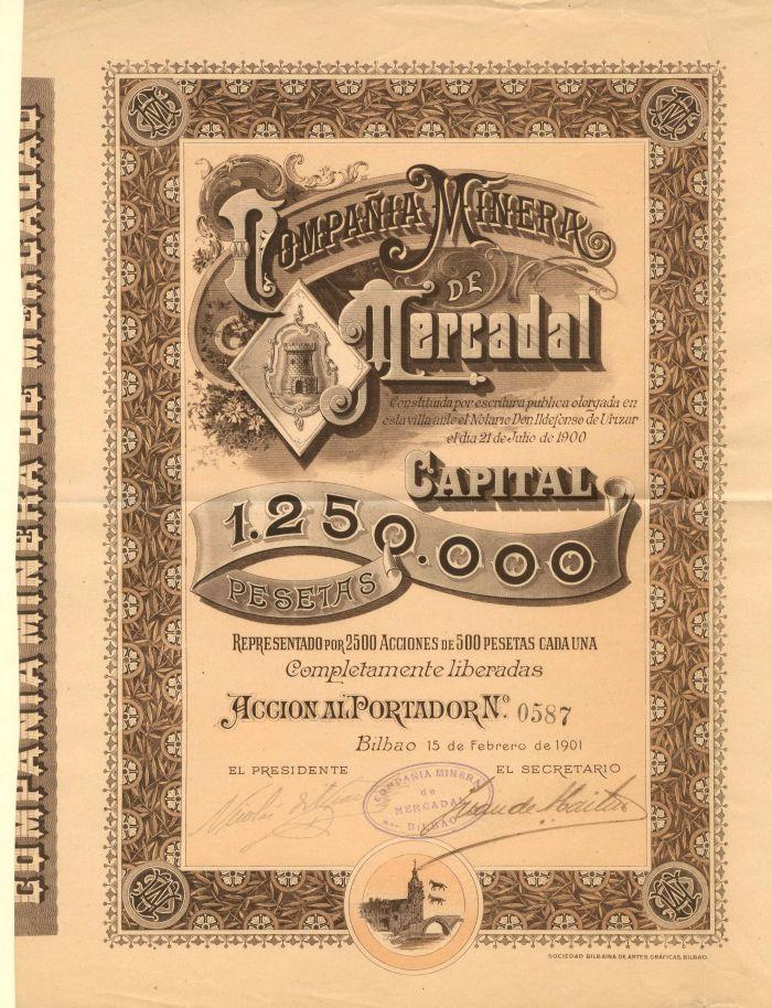 Compania Minera De Mercadal - Stock Certificate