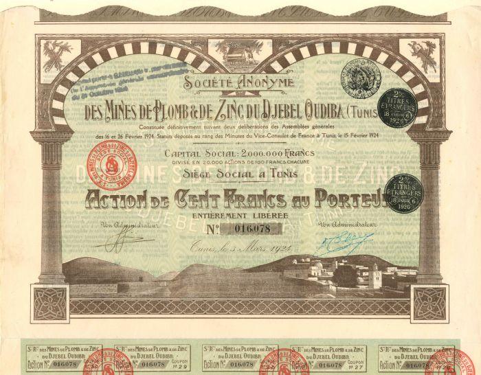 Societe Anonyme Des Mines De Plomb and De Zinc Du Djebel Oudiba - Stock Certificate