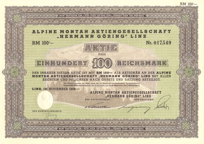 "Alpine Montan Aktiengesellschaft ""Hermann Goring"" Linz - Stock Certificate"