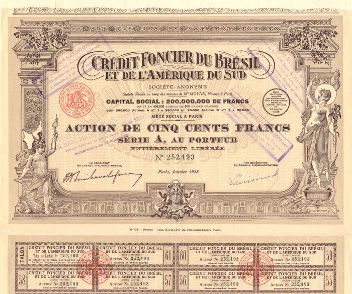 Credit Foncier Du Bresil Et De L'Amerique Du Sud - Stock Certificate