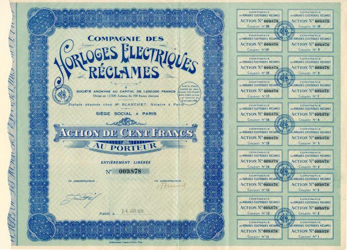 Compagnie Des Horloges Electriques Reclames - Stock Certificate