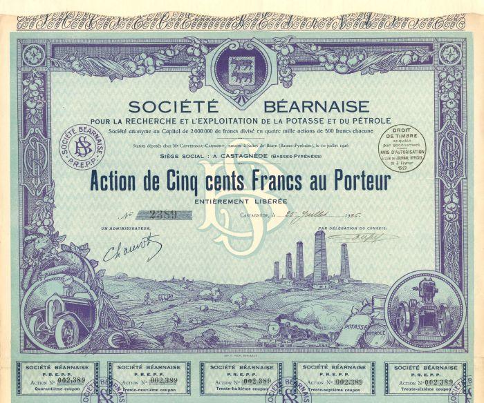 Societe Bearnaise Pour La Recherche Et L'Exploitation de la Potasse et du Petrole - Stock Certificate