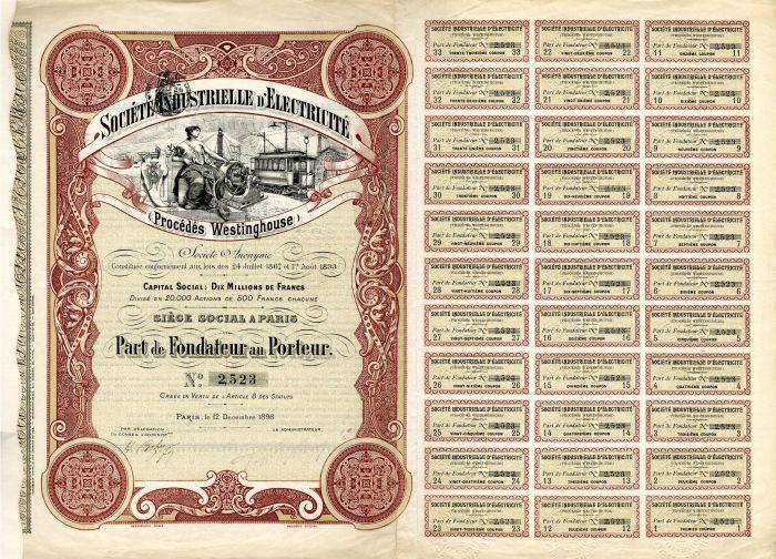 Societe Industrielle D'Electricite - Stock Certificate