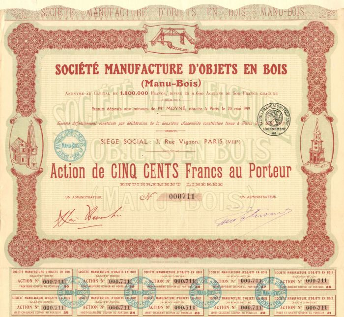 Societe Manufacture D'Objets En Bois - Stock Certificate