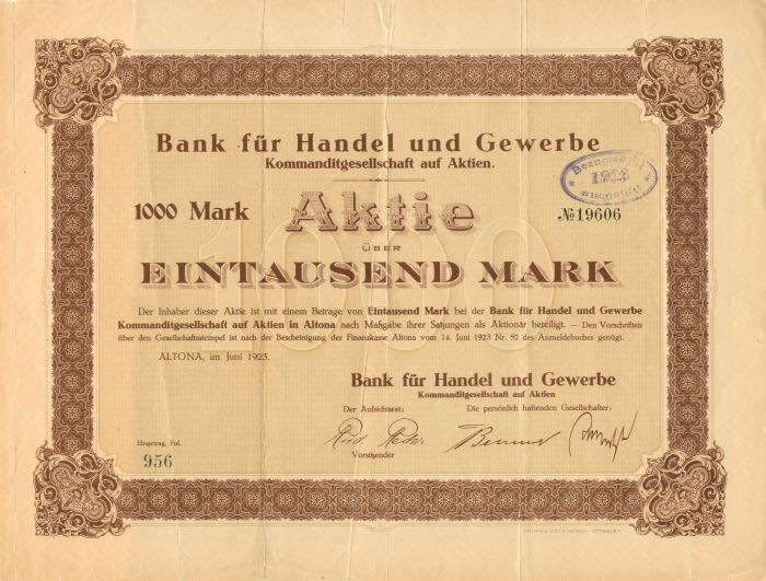 Bank fur Handel und Gewerbe - Stock Certificate